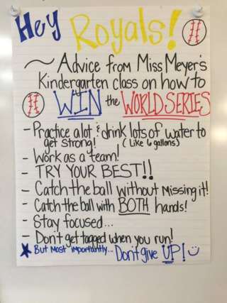 Advice from Miss Meyer's Kindergarten Class on How to Win the World Series