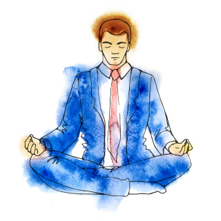 Businessman meditating--127339484